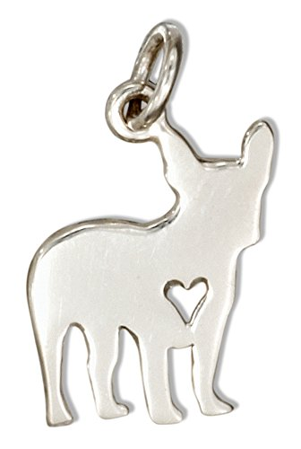 Cut Out Heart Charm (Sterling Silver Silhouette French Bulldog Charm with Cut-out Heart)