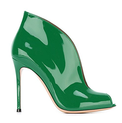 uBeauty Women's High Heel Peep Toe Court Shoes Slip On Stiletto Heel Open Toe Boots Solid Shoes for Party Green DLwu0usT