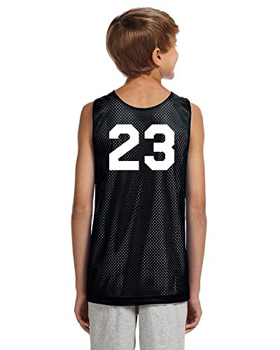 Team Apparel Basketball Jersey - Players Inc Basketball Custom Numbered Black-White Reversible Mesh Uniform Top (Youth XL)
