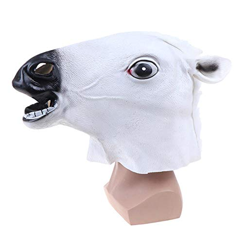 Horse Mask Halloween Horse Head Mask Latex Creepy Animal Costume Theater Prank Crazy Party Halloween Decor,White