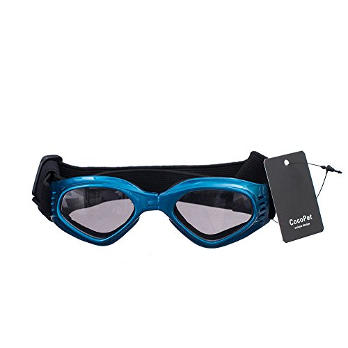 COCOPET [New Version] Adorable Dog Goggles Pet Sunglasses Eye Wear UV Protection Waterproof Sunglasses for Puppy Dogs Small Medium White Blue from COCOPET