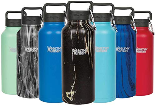 Onyx Ring Dad (Healthy Human Marble Collection Stainless Steel Vacuum Insulated Water Bottle | Keeps Cold 24 Hours, Hot 12 Hours | Double Walled Water Bottle | 32 oz Black Onyx)