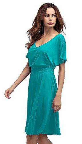Sleeve Short Cap Acidblue Dress Plus Size Slim V Women Casual Flare Tunic LouKeith Neck x48Uwq0H