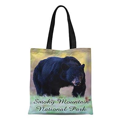 Semtomn Cotton Line Canvas Tote Bag Great Smoky Mountain National Park Animal Black Bear Scenic Reusable Handbag Shoulder Grocery Shopping Bags