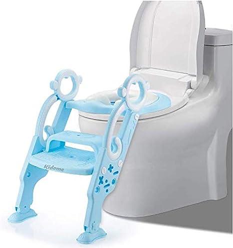 KidoMe Aseo Escalera Asiento Escalera, Adaptador WC para clientes con Escalera Antideslizante, 2 Escalones y Agarraderas Grandes, Asiento de Entrenamiento de Inodoro Ajustable y Plegable (Azul): Amazon.es: Bebé