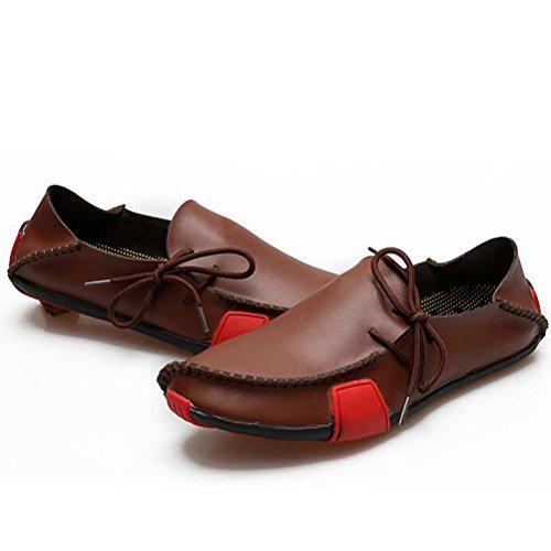 Vogstyle Herren Fallen Komfort Leder Große Casual Schuhe Art 1 braun