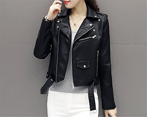 Mandaartins Women Short Faux Soft Leather Jacket Pu Leather Jacket Street Coat Blue L by Mandaartins (Image #3)