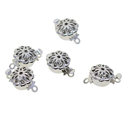 MagiDeal 5 Sets Double Side Hollow Filigree Flower Pinch Push Box Clasps 14x8x3mm Vintage Silver Buckle Bracelet Ends Clasps DIY Jewelry Making Necklace Findings Accessories -
