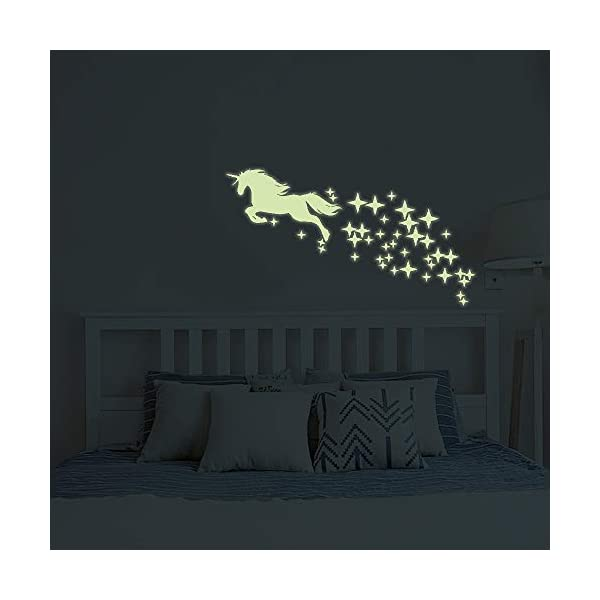 Unicorn Vinyl Wall Decals Glow in The Dark Stars DIY Kids Girls Bedroom Home Nursery Room Wall Mural Decor 4