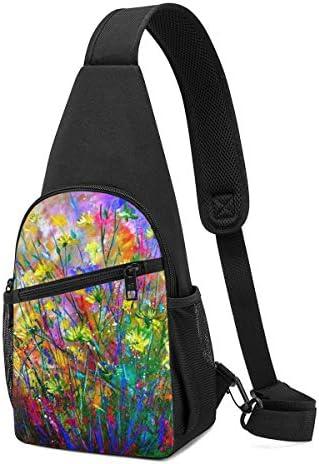 ボディ肩掛け 斜め掛け 花柄 油絵 ショルダーバッグ ワンショルダーバッグ メンズ 軽量 大容量 多機能レジャーバックパック