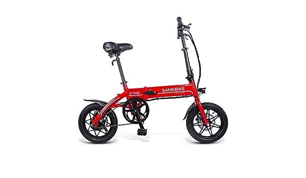 SRXH Bicicleta de montaña para Adultos, Bicicleta eléctrica, Scooter de 14 Pulgadas con luz LED Frontal, Bicicleta eléctrica Plegable de 7.8 Ah con Freno de Disco, hasta 25 km/h, tamaño Rojo: Amazon.es: