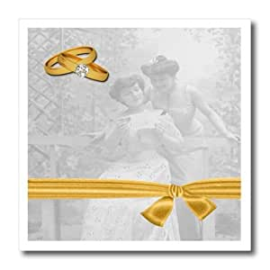 ht_164715_3 Doreen Erhardt Wedding Collection - Two Brides Vintage Wedding Art with Gold Wedding Rings - Iron on Heat Transfers - 10x10 Iron on Heat Transfer for White Material