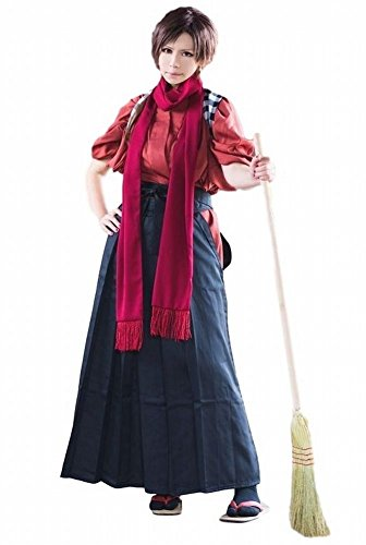 POJ Japanese Samurai Costume [ M / L / XL Size Blue / Red for Unisex ] Anime Cosplay (L, Red)