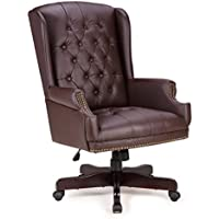 Belleze Executive Wingback Office Chair High Back Computer Tufted Thick Padded Faux Leather Wood Base, Brown