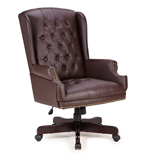 Belleze Executive Wingback Office Chair High Back Computer Tufted Thick Padded Faux Leather Wood Base,