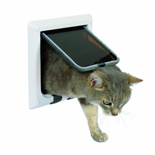 Trixie Pet Products 4-Way Locking Cat Door, White (Cat Door For Door compare prices)