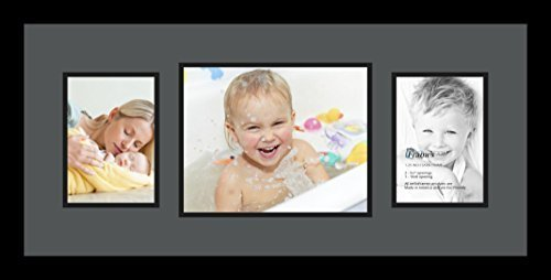ArtToFrames Collage Photo Frame Double Mat with 1 - 8x10 and 2 - 5x7 Openings and Satin Black Frame