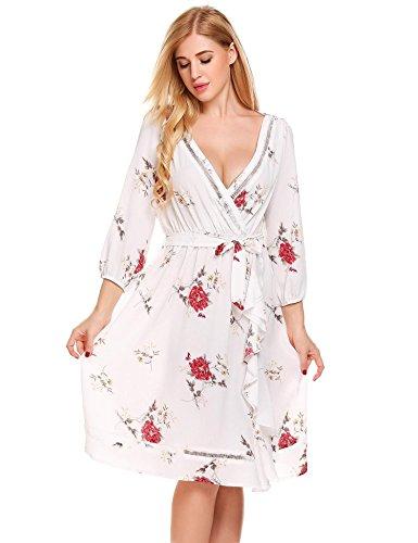 - UNibelle Women's Faux Wrap Dress A Line V Neck Floral Print Cocktail Dresses L