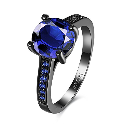 [Eternity Love Wedding Bands Women's 18K Black Gold Plated Rings Princess Cut Blue/Green/Purple CZ Crystal Engagement Rings Best Promise Rings Anniversary Wedding Rings for Lady Girl, Blue,] (Homemade Wolf Costumes For Kids)