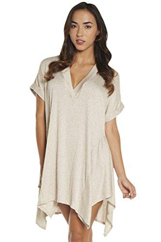 Elif Taupe corbel V-Neck Shirt Dress Size XS