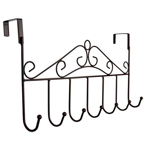 Rbenxia Over the Door Hanger Rack - Decorative Metal Hanger Holder for Home Office Use 7 Hooks Brown