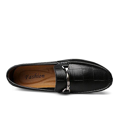uomo neri pelle shoes Mocassini da Slip Color Nero confortevoli 41 da guida guida vera da EU Mocassini vampiro da Dimensione Xiazhi in Mocassini On 46vXpv