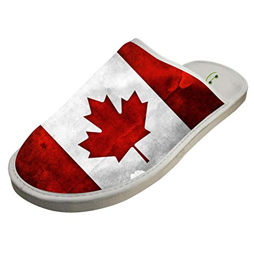 fcf834f26714a JJZZA Adult Fashion Design House Slippers,Canadian Flag Printing Home  shoes/Cotton slippers 11 B(M) US