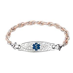 Divoti Deep Custom Laser Engraved Beautiful Olive Medical Alert Bracelet -Inter-Mesh Rose Gold/Silver Stainless -Deep Blue