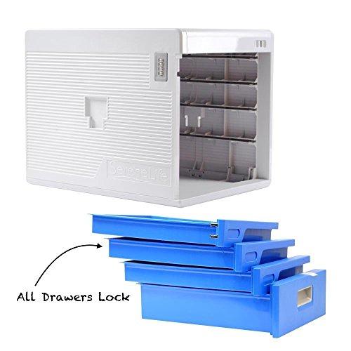 SereneLife Office Desk Organizer With Drawer Cabinet Lock   Home Desktop  File Storage Box W/ 4 Locking Drawers, ...