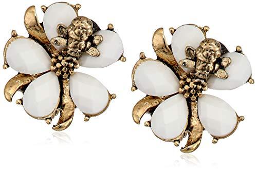 (Napier Women's Gold/White Flower EZ Comfort Clip Earrings)