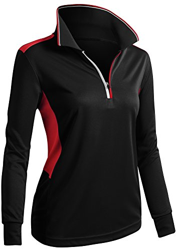 CLOVERY Coolmax Fabric Moisture Wicking Long Sleeve POLO Shirt Top BLACK US XL / Tag XL