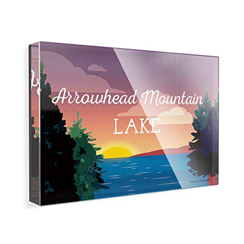 - Acrylic Fridge Magnet Lake retro design Arrowhead Mountain Lake NEONBLOND