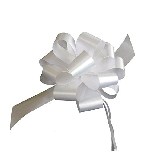 White Decorative Gift Pull Bows - 5 Wide, Set of 10, Bows for Gifts, Christmas Presents, Ribbons Wedding Favors Decor Ribbons
