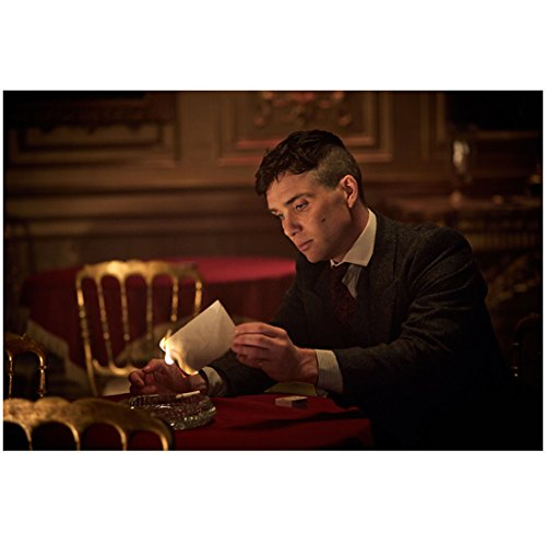 Peaky Blinders Cilian Murphy as Thomas lighting paper on fire 8 x 10 Inch Photo