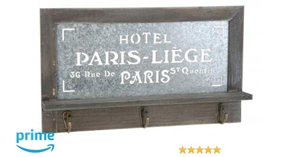 quantio Colgador de Llaves de Madera diseño de París - Perchero con 3 Ganchos - con balda - Estante