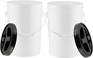 House Naturals 6 Gallon Large Bucket Pail Food Grade BPA Freee with Screw On Gamma Lid( Pack of 2)