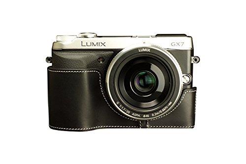 パナソニック LUMIX GX7用本革カメラケース ブラック B07SYYKTZJ カメラケース&ストラップTP1881&バッテリーケース FreeSize