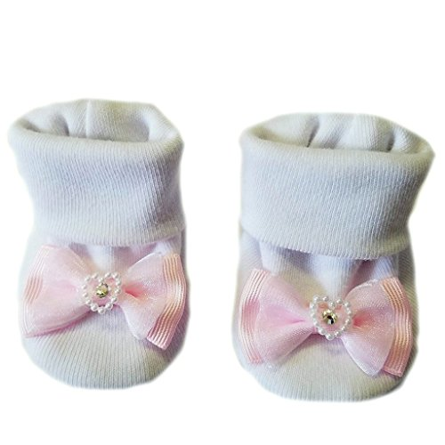 Jacqui's Baby Girls' White Booties with Light Pink Heart Bow, 0-3 Months - Preemie Booties
