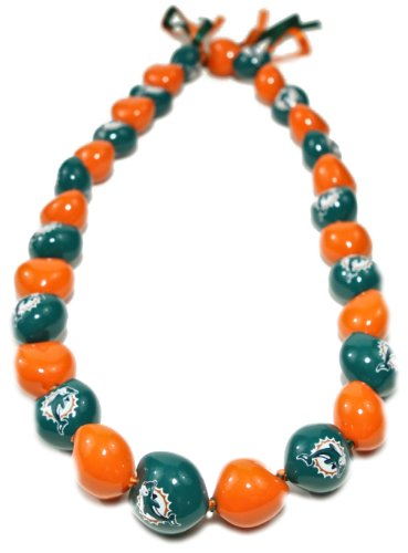 NFL Miami Dolphins Go Nuts Kukui Nut Lei Necklace