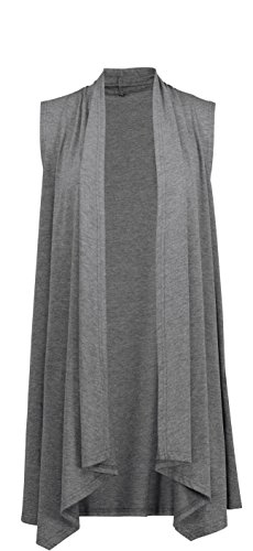 ghtweight Sleeveless Draped Open Front Cardigan Vest Deep Grey Medium ()