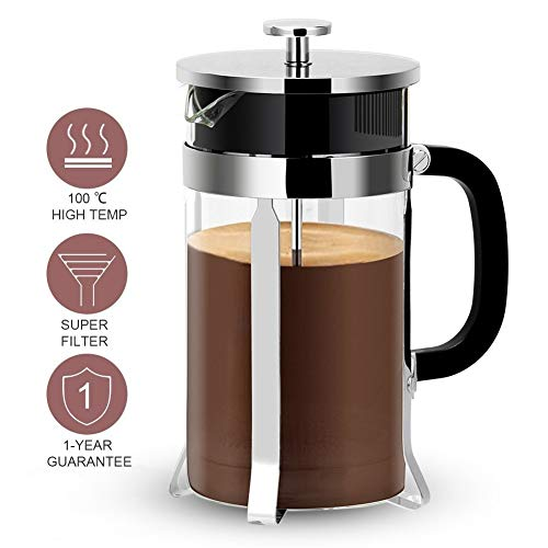 French Press Coffee Maker, Ymiko French Coffee Press (8 Cup, 1 liter, 34 Oz) French Press with 4 Filter System, 304 Grade Stainless Steel & Heat Resistant Borosilicate Glass, Easy Cleaning
