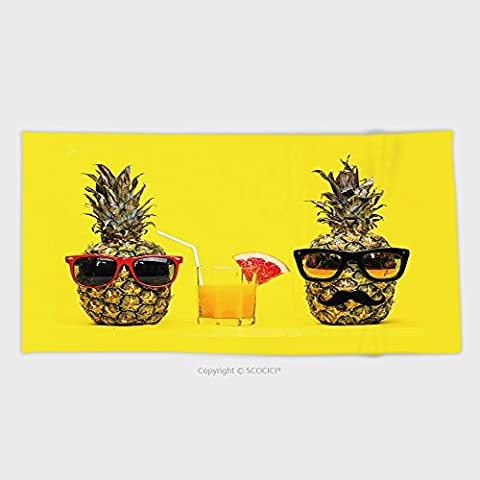 27.5W x 11.8L Inches Custom Cotton Microfiber Ultra Soft Hand Towel Two Fun Fashion Pineapples With Sunglasses And Mustache With Fresh Tropical Cocktail With Fruit - Garnet Sport Sunglasses
