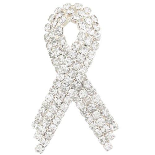 Rhinestone Ribbon Pin (PinMart's Clear Rhinestone Crystal Awareness Ribbon Brooch Lapel Pin 1