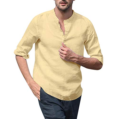 SFE Simple and Stylish Men's Baggy Cotton Blend Solid Color Long Sleeve Stand Collar Shirts Casual wear Working Khaki]()