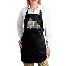 Ice Cream Van Chef Kitchen Cooking And Baking Bib Apron With Pocket