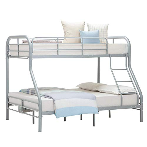 Mecor Twin Over Full Metal Bunk Beds-Sturdy Metal Frame with Inclined Ladder, Safety Rails for Kids/Adult/Teens(Silver)