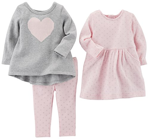 3-Piece Playwear Set, Pink Heart, 12 Months (Baby Girl Pink Knit Sweater)