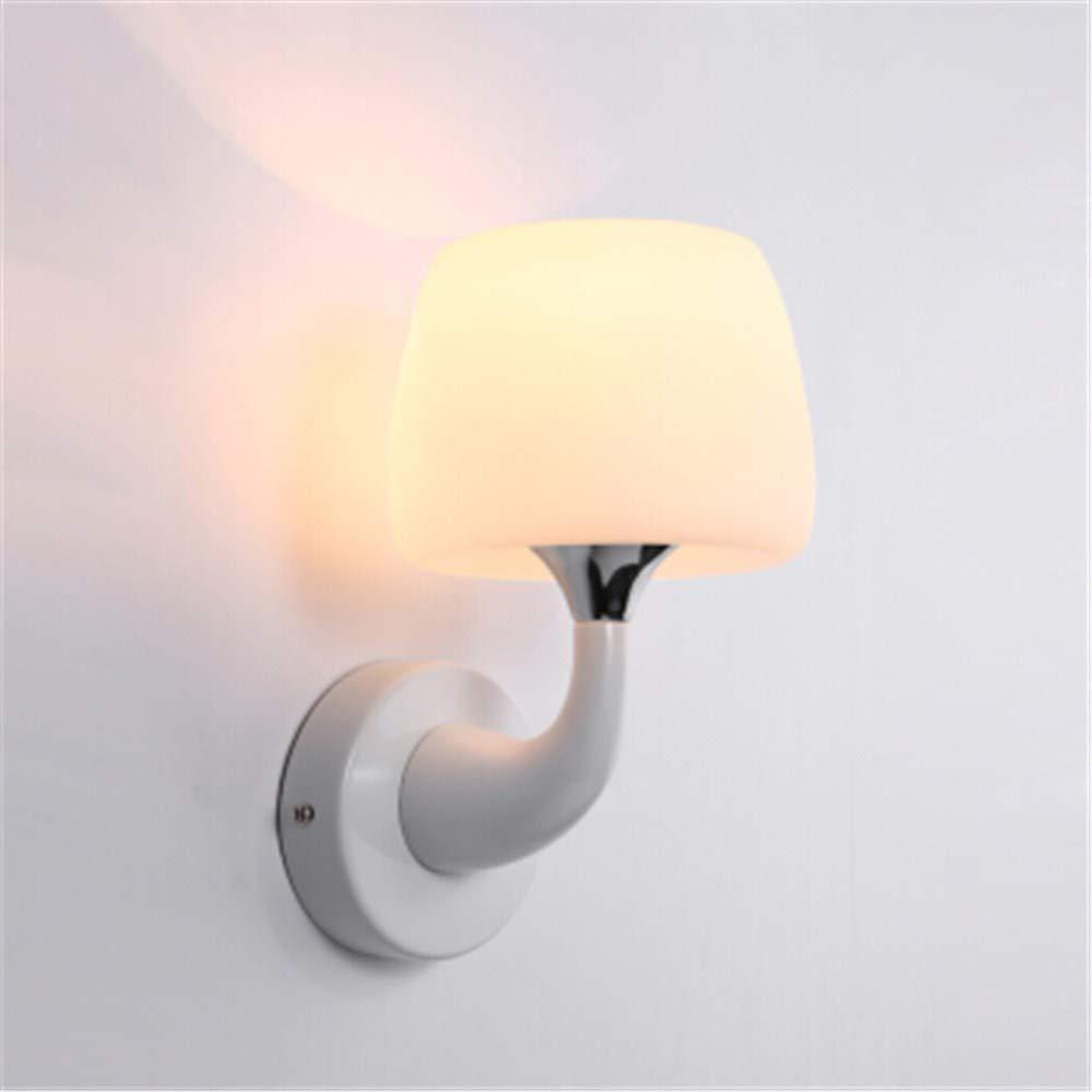 Wandleuchte modernen minimalistischen weißen Ball Glas Mode Nachtwandlampe kann Schalter einzigen Kopf Pilz 5W warmes Licht hinzugefügt werden