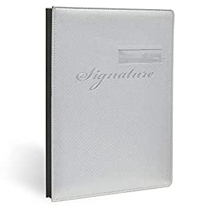 FIS Signature Book, Italian PU Material Cover with Window, 18 Sheets with Gift Box, Grey Color, 240 x 340 mm - FSCL18223W