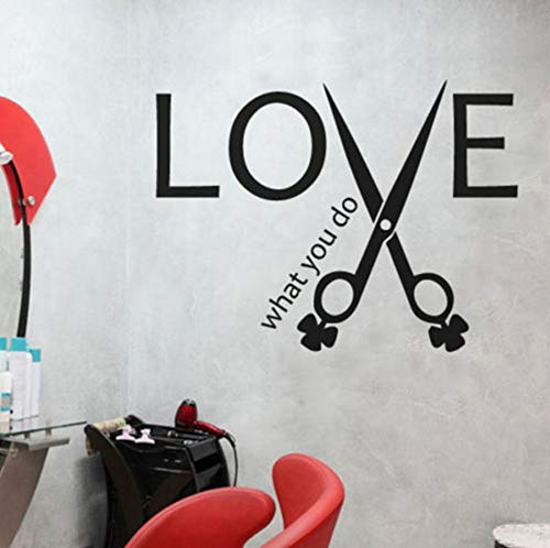 Dalxsh Inspiring Quotes Love Scissors Wall Sticker Hair Stylist Salon Quote Barbershop Decor Wall Decal Living Room Home Decorate 56x42cm -